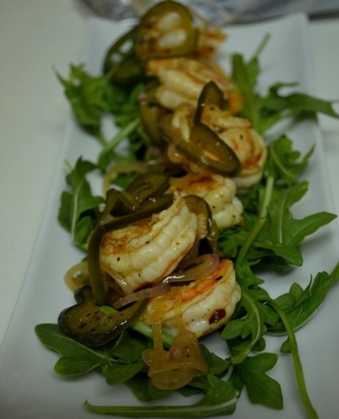 Vermouth Shrimp with Sauteed Poblano Peppers and Shallots