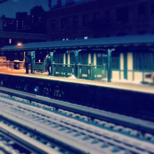 Above Ground Subway Stop on 125th Street