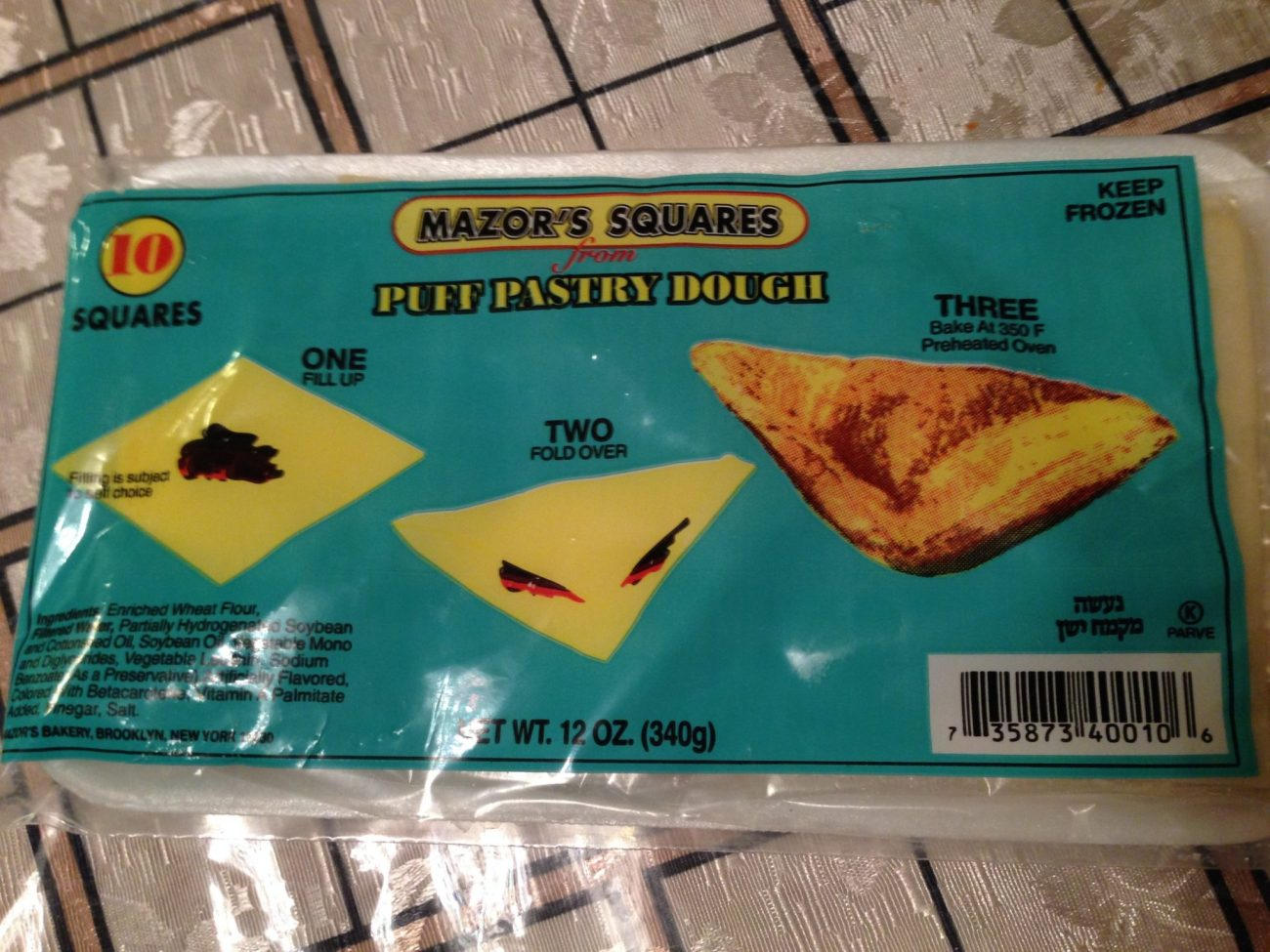 Mazor's Squares Puff Pastry Dough for Piroshki Making