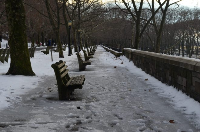 Empty Benches in Riverside Park