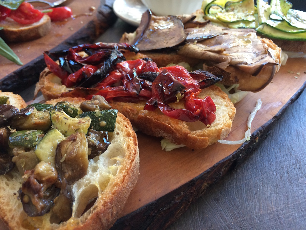 Crostini with Roasted Vegetables in Puglia Italy