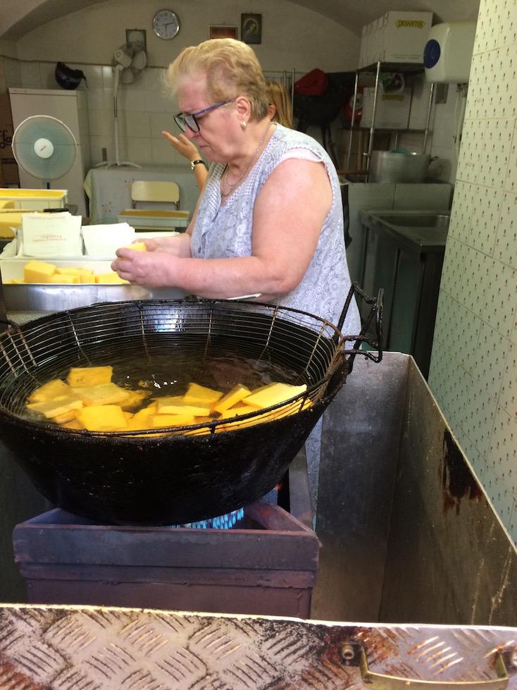 Making Fried Polenta in Bari Italy