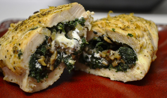 Stinging Nettle with Crimini Mushroom and Mozzarella Stuffed Chicken Breasts