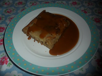 Apple and Ginger cake with toffee sauce.