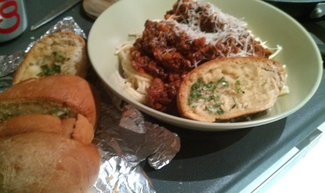 Spag Bol with Garlic Baguette