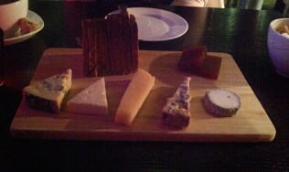 British artisan cheese board, walnut and raisin bread, quince jelly 5 cheeses: £10.50