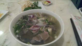 Cooked and raw beef Pho