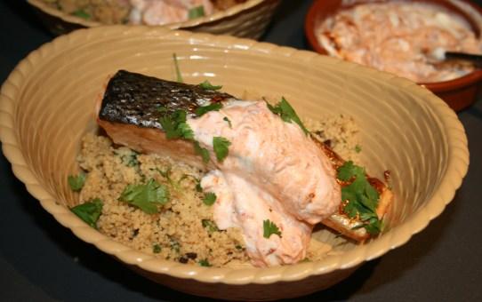 Cinnamon rubbed salmon with couscous & harissa yogurt