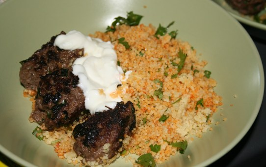 Beef koftas with herb couscous
