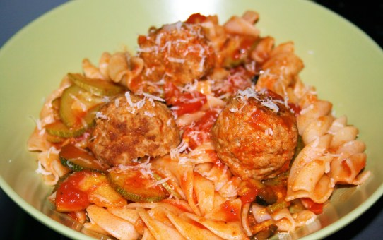 Turkey meatballs with a courgette and olive sauce