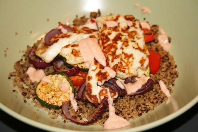 Halloumi with roasted veg and harissa yoghurt