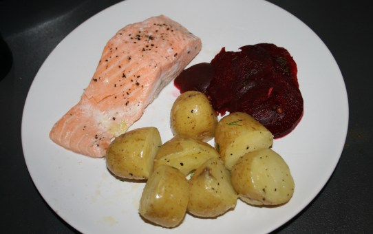 Ginger salmon with overnight beetroot pickle