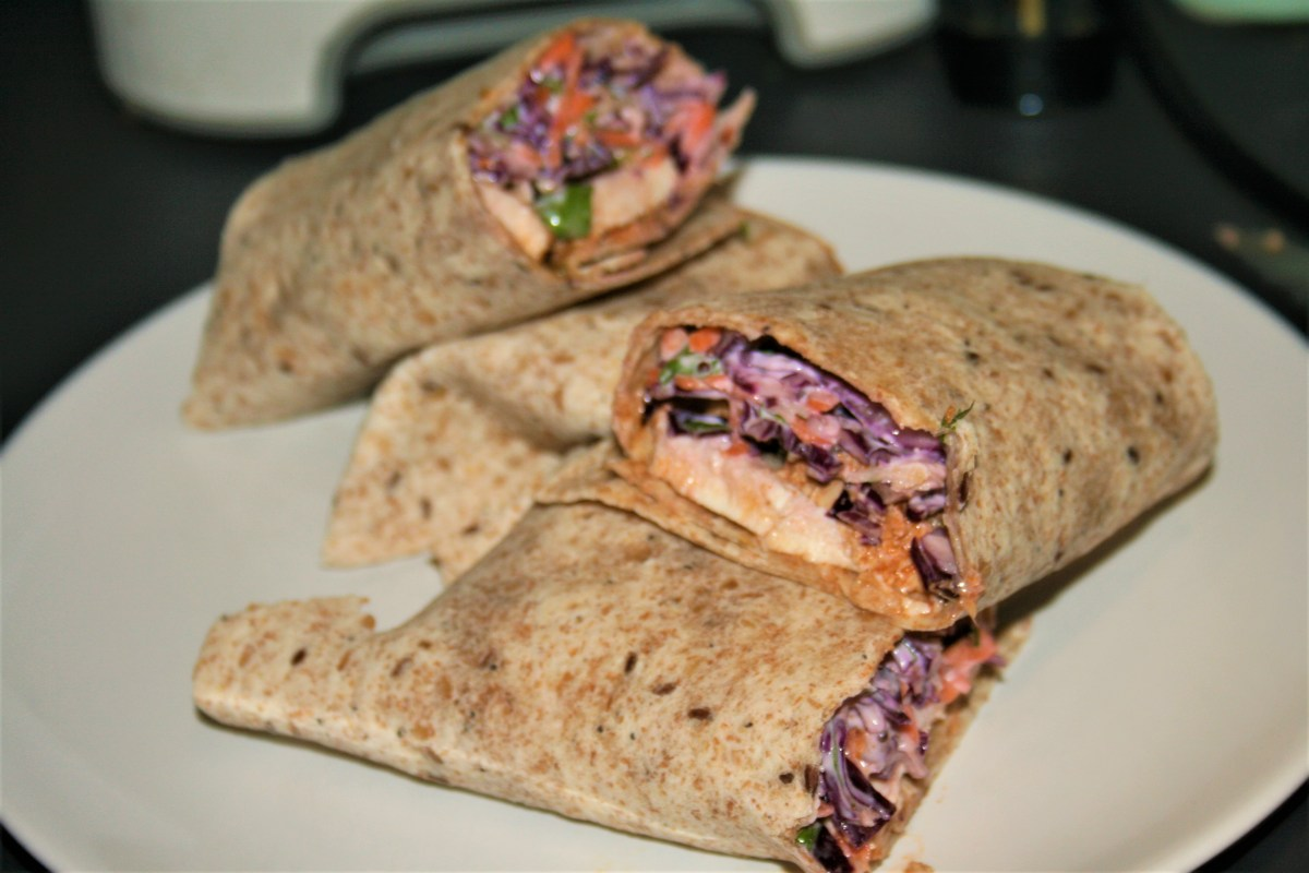 Peri peri chicken wraps with red cabbage slaw