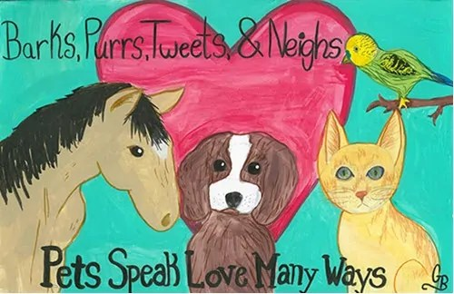 National Pet Week poster by Gracie Babin, a fifth grade student from Hammond, Louisiana.