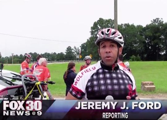 Television journalist rides along with Bicycle Adventure through Mississippi backroads
