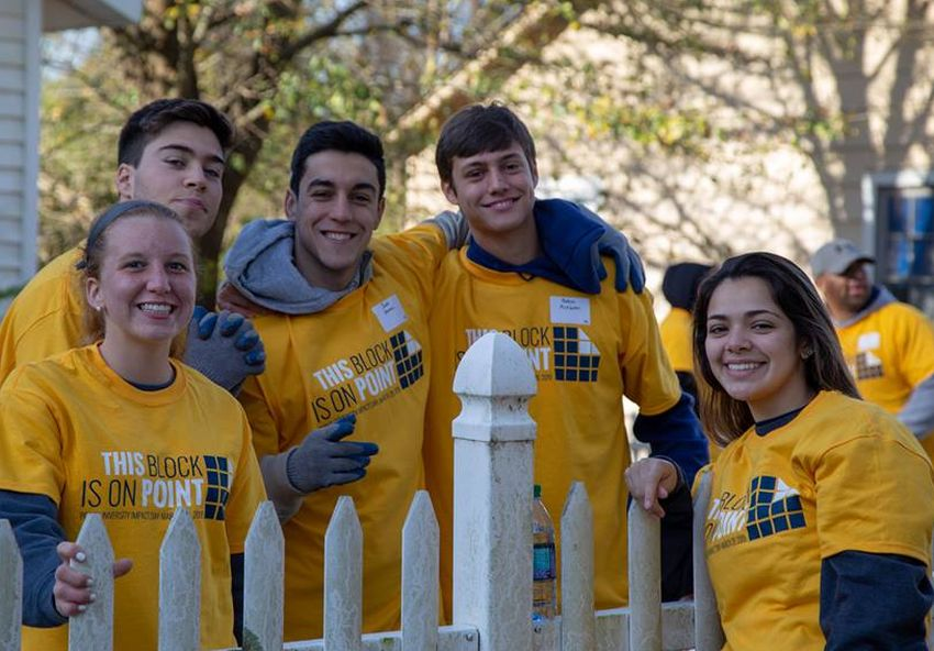 Point University students working in West Point, Georgia.