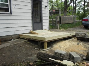Photo: A wooden ramp built leading from her driveway to Ms. Goatley's front door