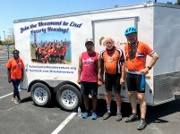 The first round of Fuller Center Bike Adventure cyclists to arrive