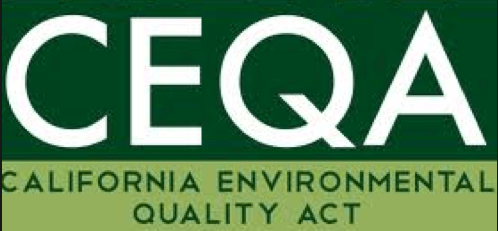 Dark green over light green picture letters ceqa in white above, words california environmental qualtity act in green below