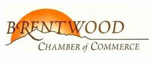 drawing sun rising, behind hill, Brentwood chamber on commerce in print