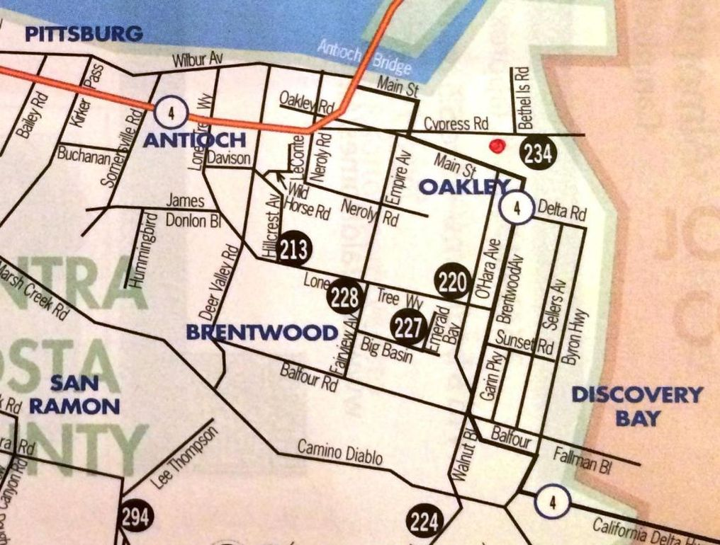 map of oakley brentwood area