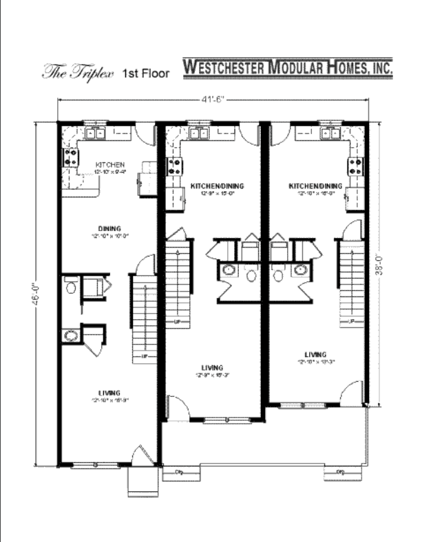 Triplex fuller modular homes for Triplex plans one story