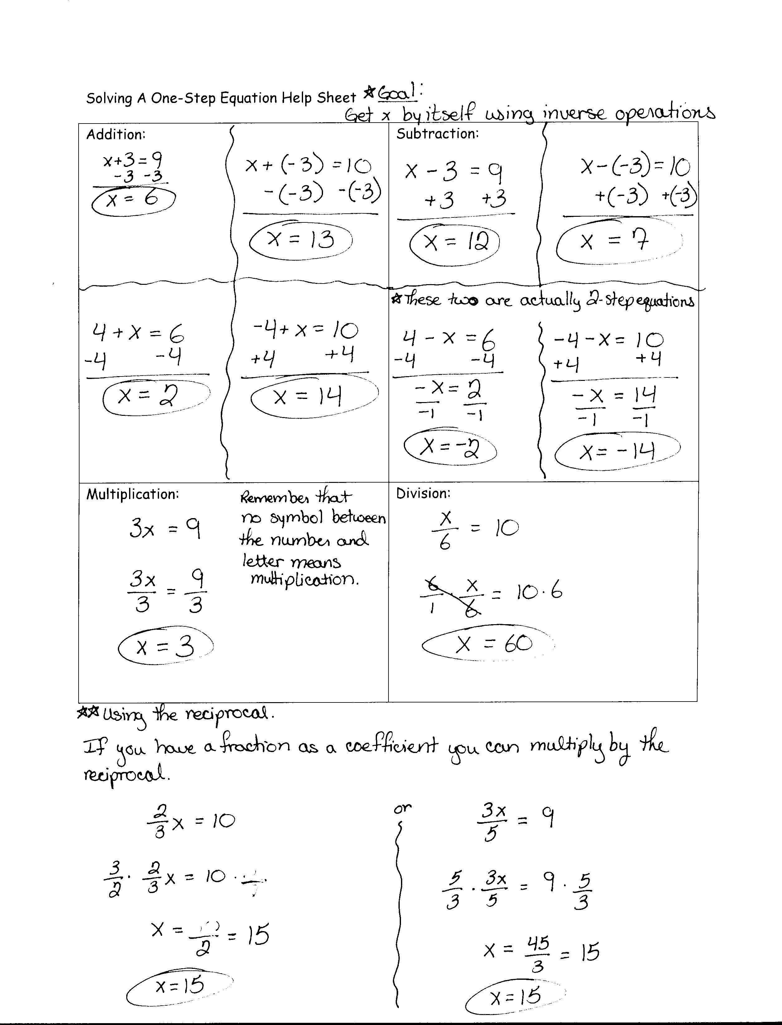 1 Step Equations Division Worksheet