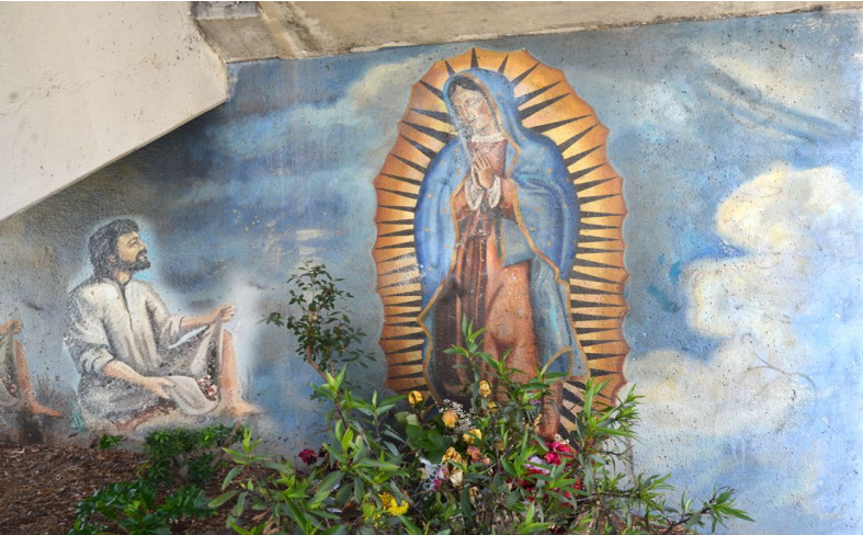 Depictions of the Virgin of Guadalupe and Juan Diego are among the beloved Lemon underpass murals.
