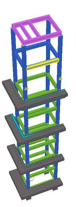 Modelo 3D - Estrutura Metálica Autoportante do Elevador