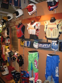 vintage motocross gear display