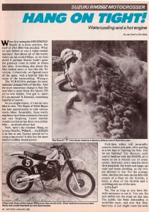 Dirt Bike Magazine RM250Z Test – January 1982