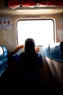 little girl in the ferry boat