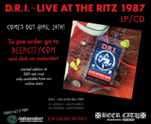 D.R.I. to Reissue 'Live at the Ritz 1987' April 14th, CD, LP, Digital, Limited Red Vinyl
