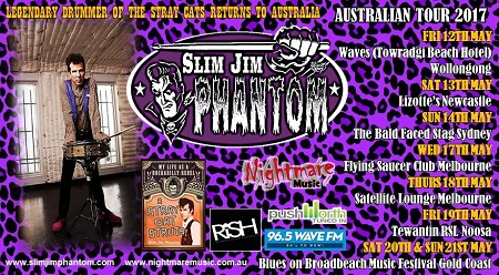 Slim Jim Phantom Trio 2017 Australian Tour Dates - Stray Cats Drummer Slim Jim Phantom