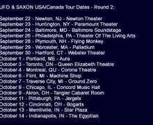 Saxon & UFO Launch 2017 North American Tour, Tickets, Info