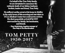 "Official Statement: ""On Behalf of the Tom Petty family, we are devastated"""