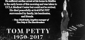 """Official Statement: """"On Behalf of the Tom Petty family, we are devastated"""""""