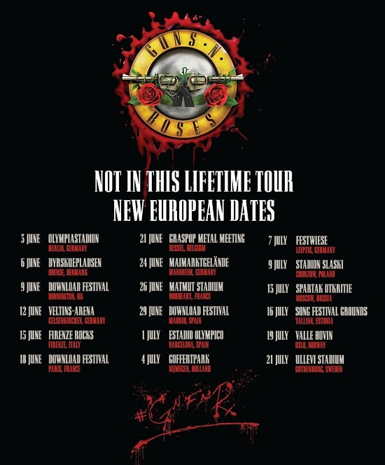 Guns N' Roses 2018 Europe Tour Announced, Tickets, Dates + Russia, UK