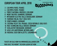 Noel Gallagher Europe Tour 2018, Tickets, Dates, Paris, Milan, Düsseldorf, Hamburg, Amsterdam, Munich