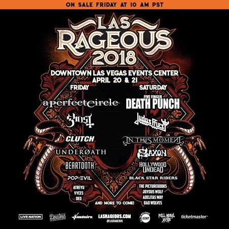 2018 Las Rageous Festival Lineup: A Perfect Circle, Judas Priest, Ghost, Clutch, Saxon