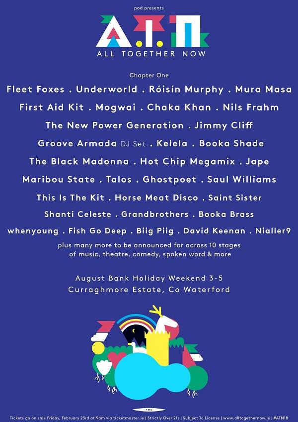 All Together Now 2018 Lineup - Fleet Foxes, First Aid Kit, Mogwai, Chaka Khan
