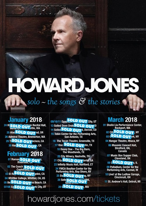 Howard Jones 2018 Tour US/Canada Schedule/Dates/Tickets