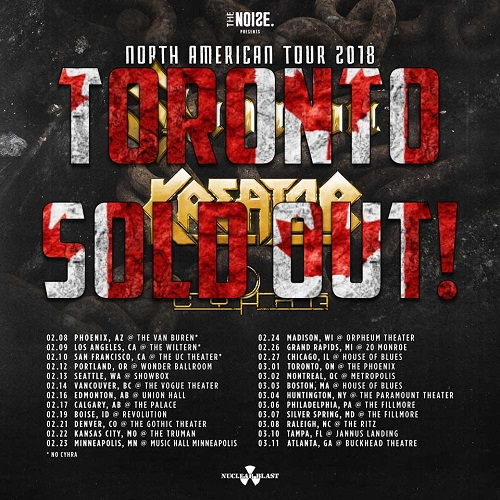 Sabaton/Kreator 2018 Tour Toronto SOLD OUT - Denver, Chicago, Madison, Boston, Philadelphia, Tampa