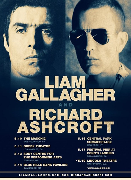 Liam Gallagher 2018 Tour (US/Canada) w/ Richard Ashcroft Announced