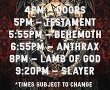 Slayer Tour 2018 in San Diego @ Valley View Casino Center w/ Lamb of God, Anthrax, Behemoth, Testament