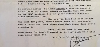 Ryan Leaf:  Hunter S. Thompson Letter to Colts Owner Jim Ersay