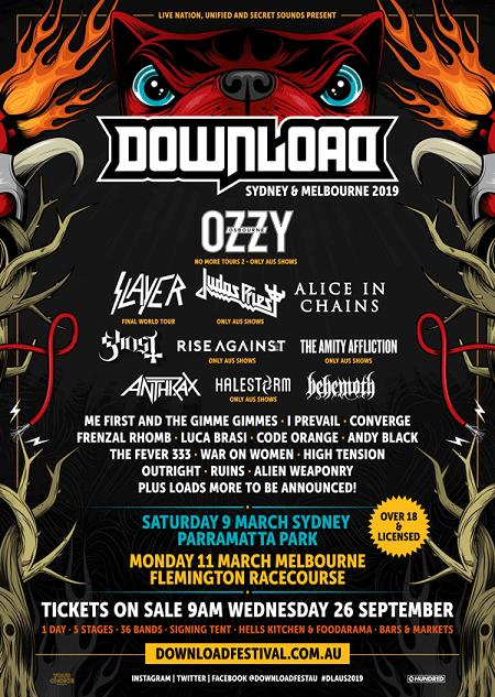 2019 Download Festival Australia Lineup Announced - Ozzy, Slayer, Judas Priest, Alice in Chains - Melbourne, Sydney