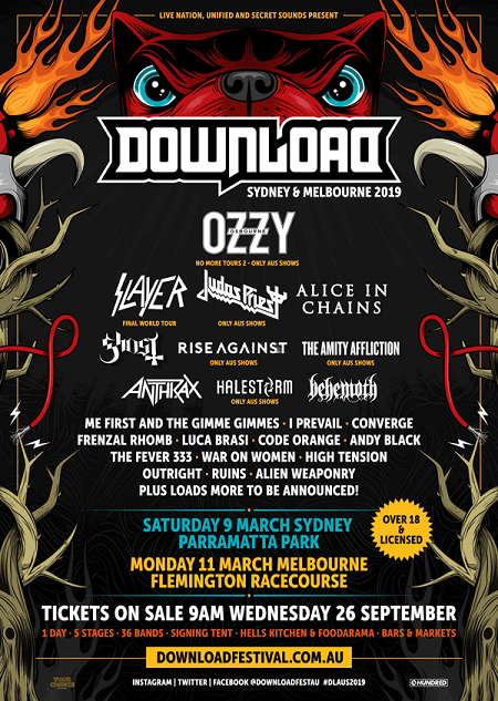 2019 Download Festival Australia Lineup Announced - Ozzy, Slayer, Judas Priest, Alice in Chains - Melbourne, Sydney
