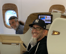 "Scott Ian, ""Fly the Friendly Skies"" w/ Tom Araya Santiago, Chile – Slayer/Anthrax"