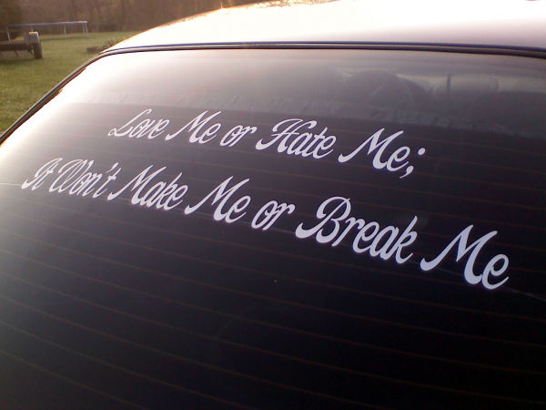 Vinyl window decal quote.